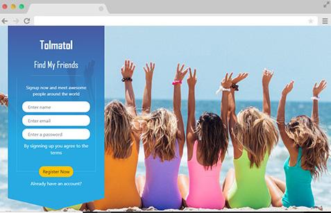 Website header design with sign up