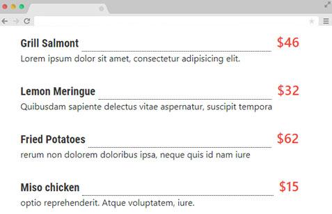 resstaurent menu bootstrap snippets