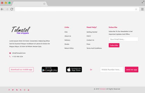 Footer design tolmatol.com